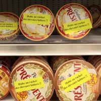 Des agriculteurs de la FDSEA (principal syndicat agricole) et JA (Jeunes Agriculteurs) ont promene une vache dans les rayons d'un hypermarche Auchan a Lomme, pres de Lille,  et verifie les prix des produits. Ils ont obtenu de la part de la direction du magasin le retrait des produits du groupe laitier Lactalis. Lomme, FRANCE-30/03/2010/Credit:BAZIZ CHIBANE/SIPA/1003301903
