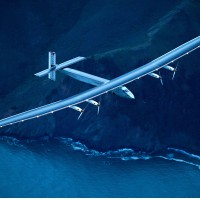 Solar Impulse 2 flies over San Francisco, Saturday, April 23, 2016. The solar-powered airplane, which is attempting to circumnavigate the globe to promote clean energy and the spirit of innovation, arrived from Hawaii after a three-day journey across the Pacific Ocean. (AP Photo/Noah Berger)/CANB111/492082287347/1604240807