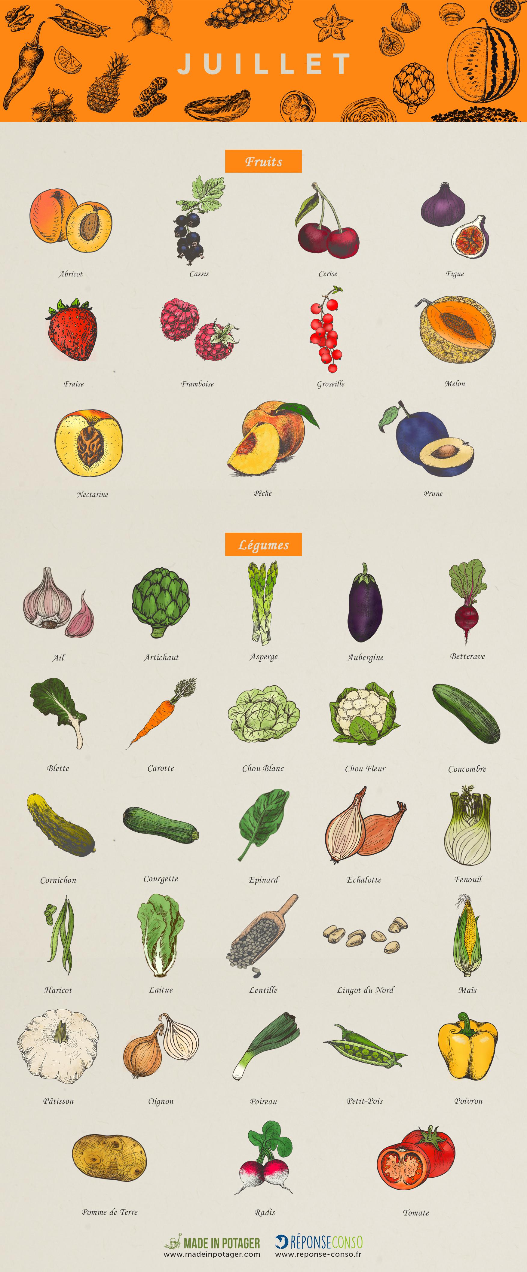 Bien connu Juillet : quels sont les fruits et légumes de saison ? - Reponse Conso RE39